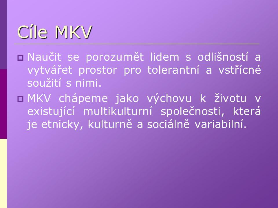 Cíle MKV Naučit se porozumět lidem s odlišností a vytvářet prostor pro tolerantní a vstřícné soužití s nimi.