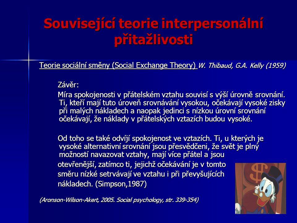 Související teorie interpersonální přitažlivosti