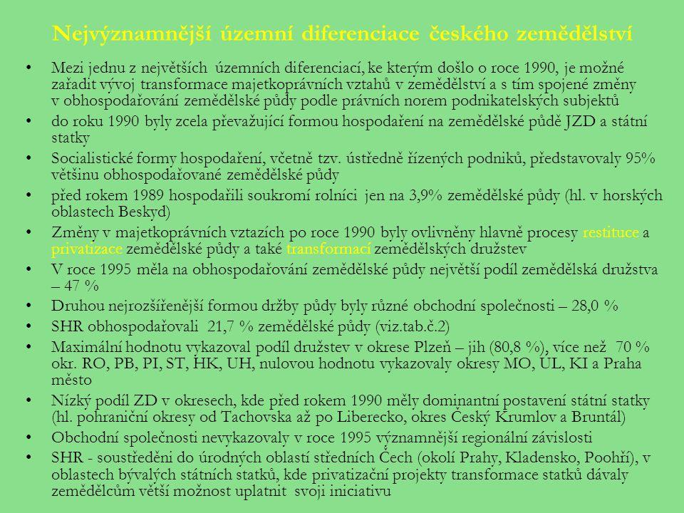 Nejvýznamnější územní diferenciace českého zemědělství