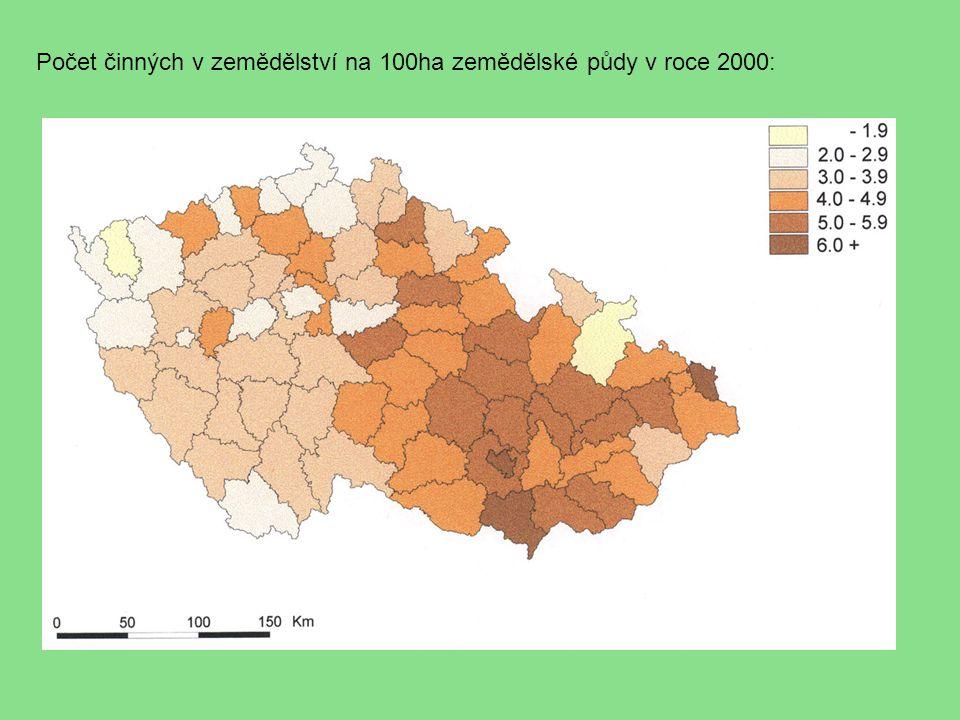 Počet činných v zemědělství na 100ha zemědělské půdy v roce 2000: