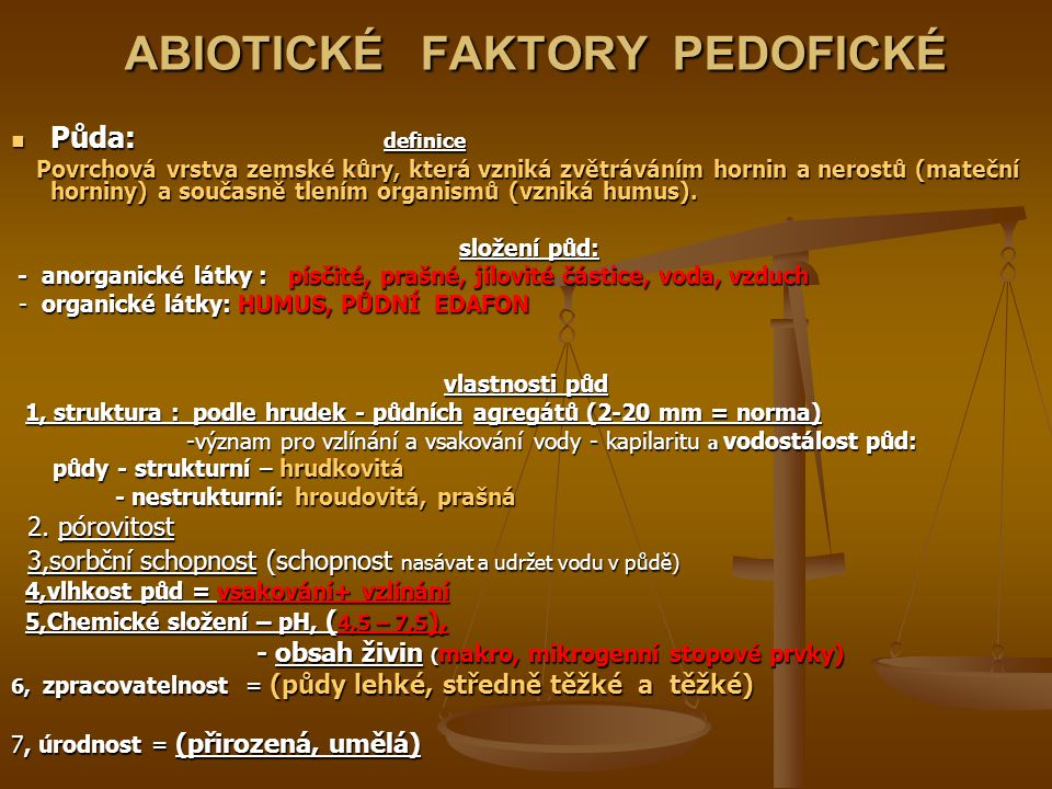 ABIOTICKÉ FAKTORY PEDOFICKÉ