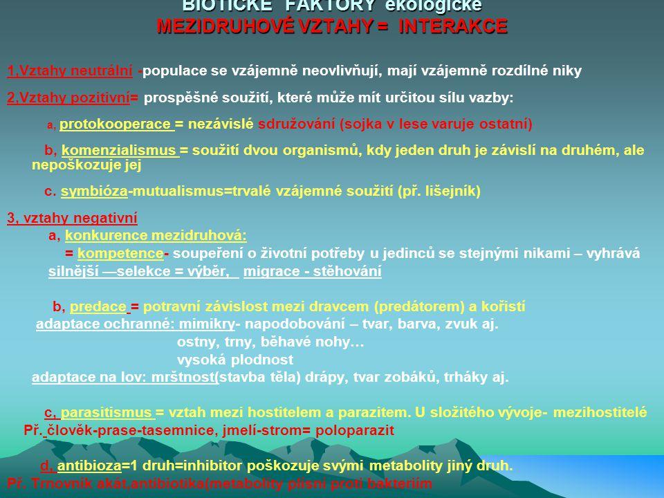 BIOTICKÉ FAKTORY ekologické MEZIDRUHOVÉ VZTAHY = INTERAKCE
