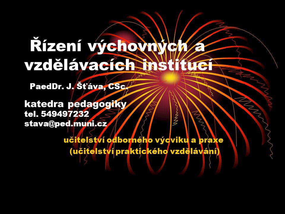 Řízení výchovných a vzdělávacích institucí PaedDr. J. Šťáva, CSc