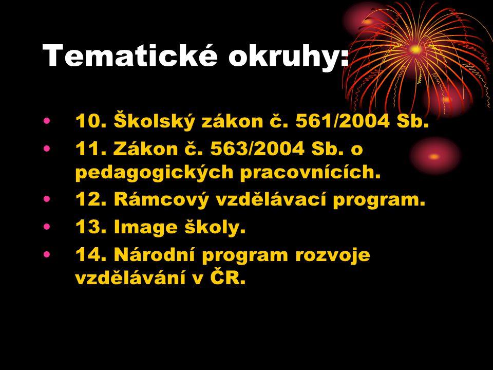 Tematické okruhy: 10. Školský zákon č. 561/2004 Sb.