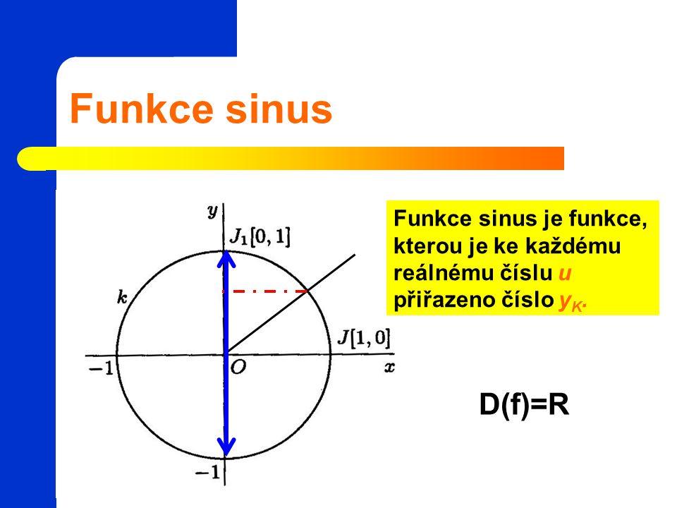 Funkce sinus Funkce sinus je funkce, kterou je ke každému reálnému číslu u přiřazeno číslo yK.