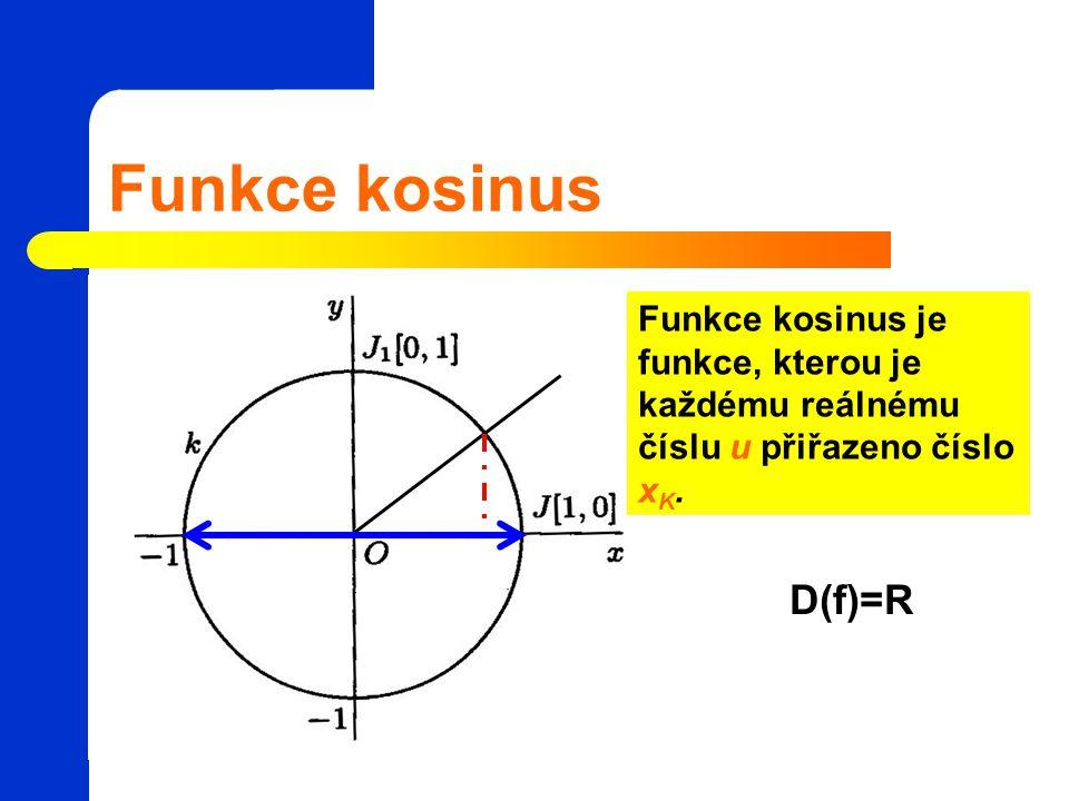 Funkce kosinus Funkce kosinus je funkce, kterou je každému reálnému číslu u přiřazeno číslo xK.