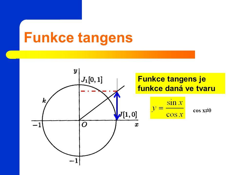 Funkce tangens Funkce tangens je funkce daná ve tvaru cos x≠0