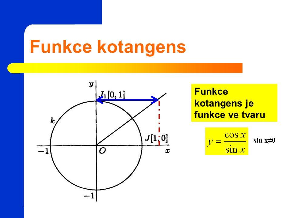 Funkce kotangens Funkce kotangens je funkce ve tvaru sin x≠0