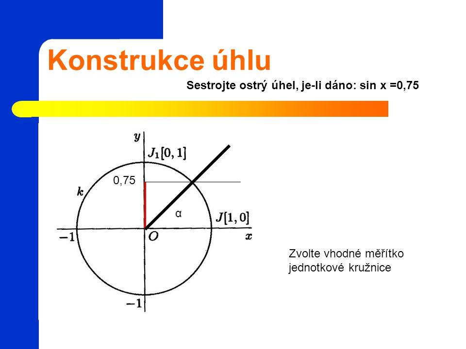 Konstrukce úhlu Sestrojte ostrý úhel, je-li dáno: sin x =0,75 0,75 α