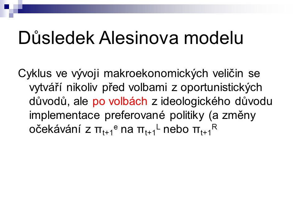 Důsledek Alesinova modelu