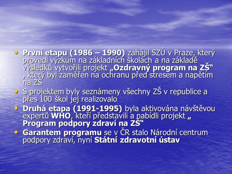 """První etapu (1986 – 1990) zahájil SZÚ v Praze, který provedl výzkum na základních školách a na základě výsledků vytvořili projekt """"Ozdravný program na ZŠ , který byl zaměřen na ochranu před stresem a napětím na ZŠ"""