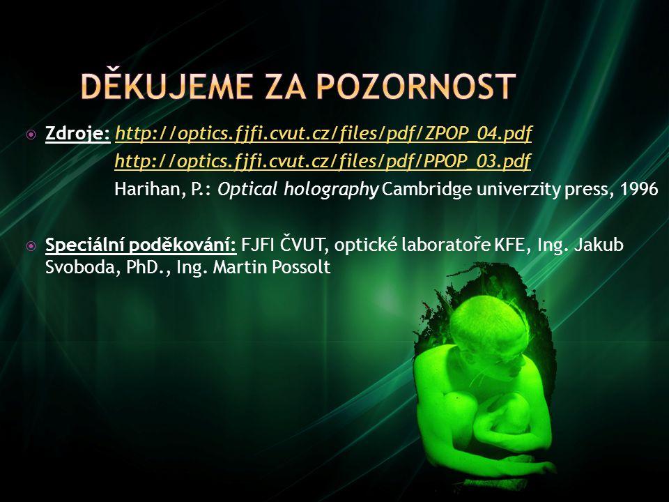 Děkujeme za pozornost Zdroje: http://optics.fjfi.cvut.cz/files/pdf/ZPOP_04.pdf. http://optics.fjfi.cvut.cz/files/pdf/PPOP_03.pdf.