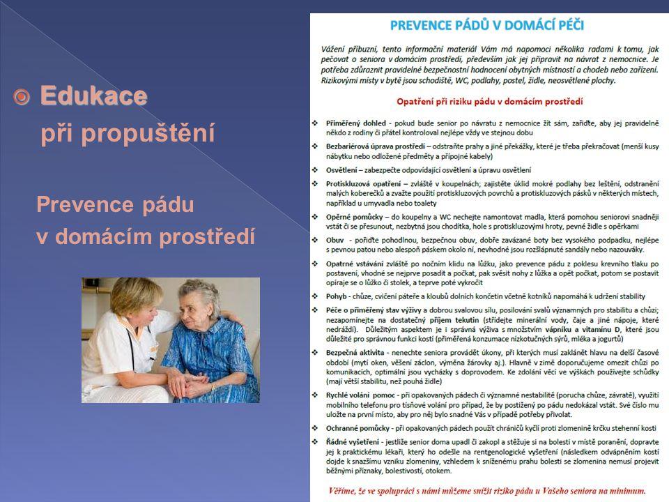 Edukace při propuštění Prevence pádu v domácím prostředí