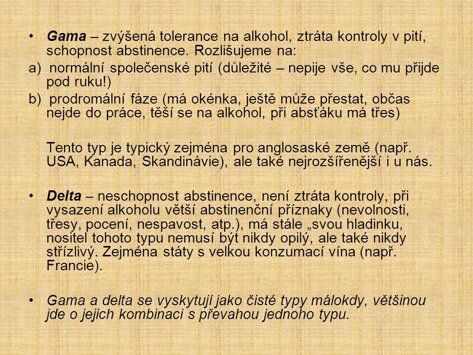Gama – zvýšená tolerance na alkohol, ztráta kontroly v pití, schopnost abstinence. Rozlišujeme na: