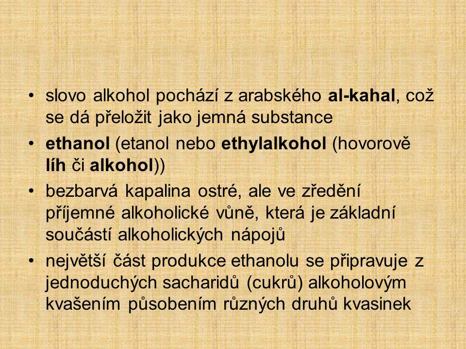 slovo alkohol pochází z arabského al-kahal, což se dá přeložit jako jemná substance
