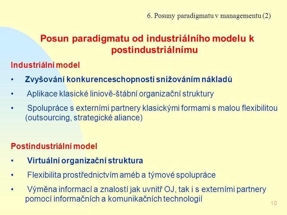 Posun paradigmatu od industriálního modelu k postindustriálnímu
