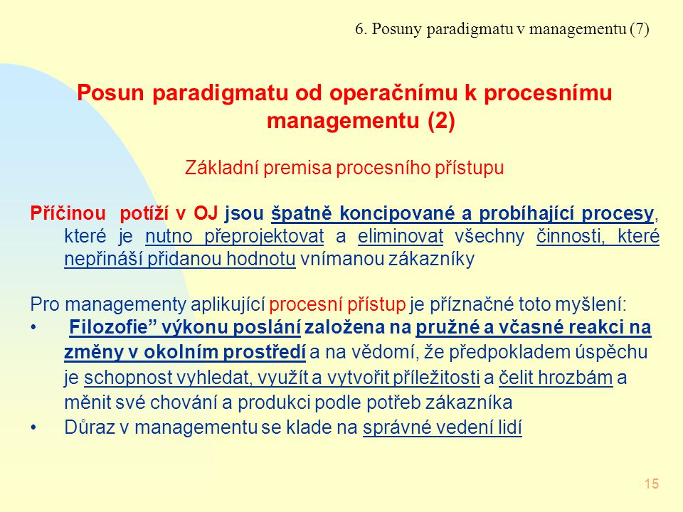 Posun paradigmatu od operačnímu k procesnímu managementu (2)