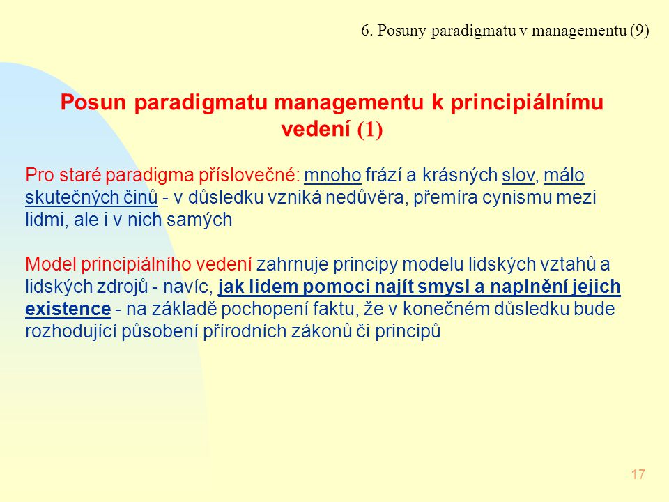 Posun paradigmatu managementu k principiálnímu vedení (1)