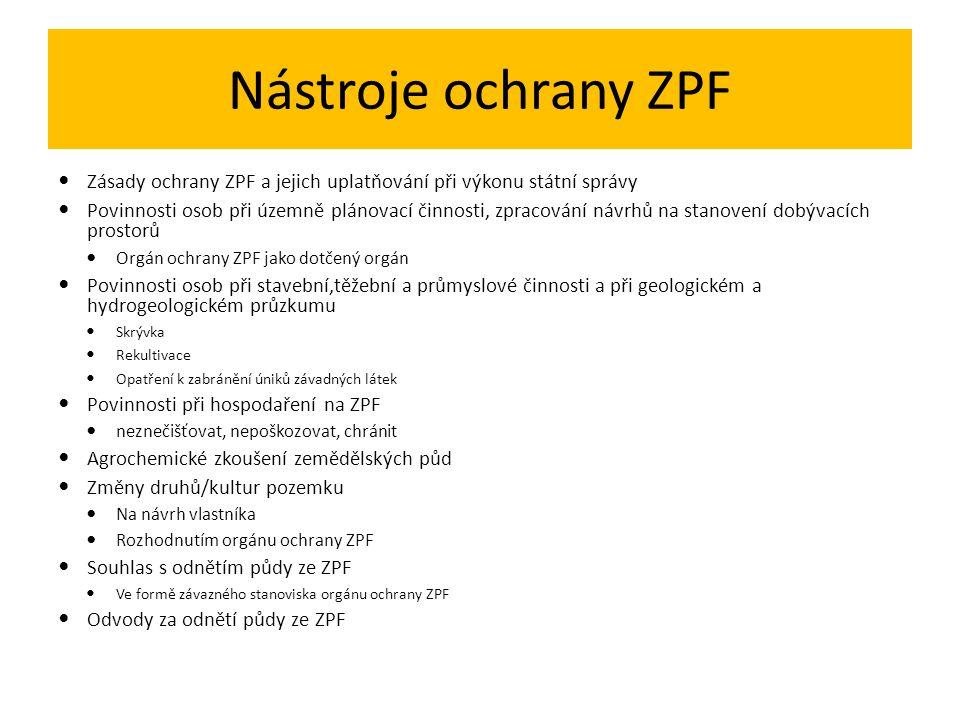 Nástroje ochrany ZPF Zásady ochrany ZPF a jejich uplatňování při výkonu státní správy.