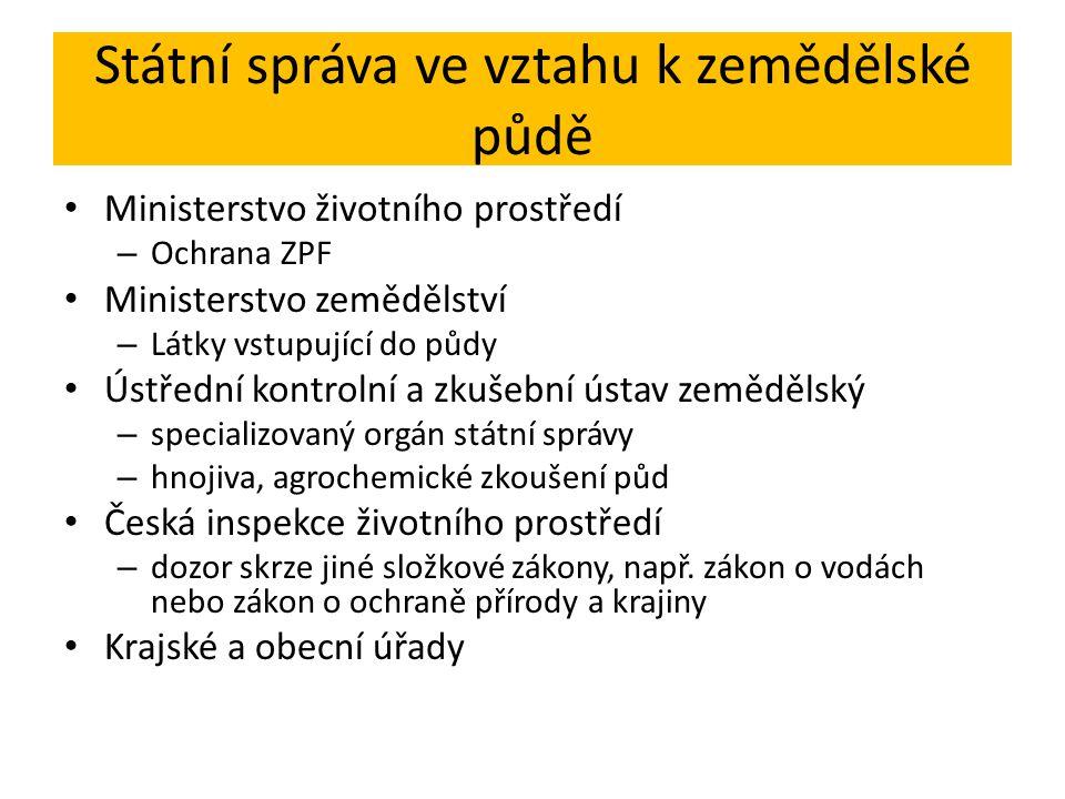 Státní správa ve vztahu k zemědělské půdě