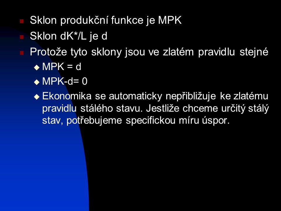 Sklon produkční funkce je MPK Sklon dK*/L je d