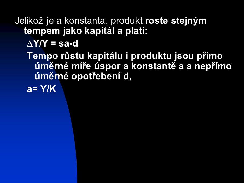 Jelikož je a konstanta, produkt roste stejným tempem jako kapitál a platí: