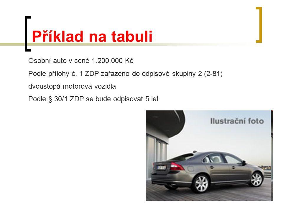 Příklad na tabuli Osobní auto v ceně 1.200.000 Kč