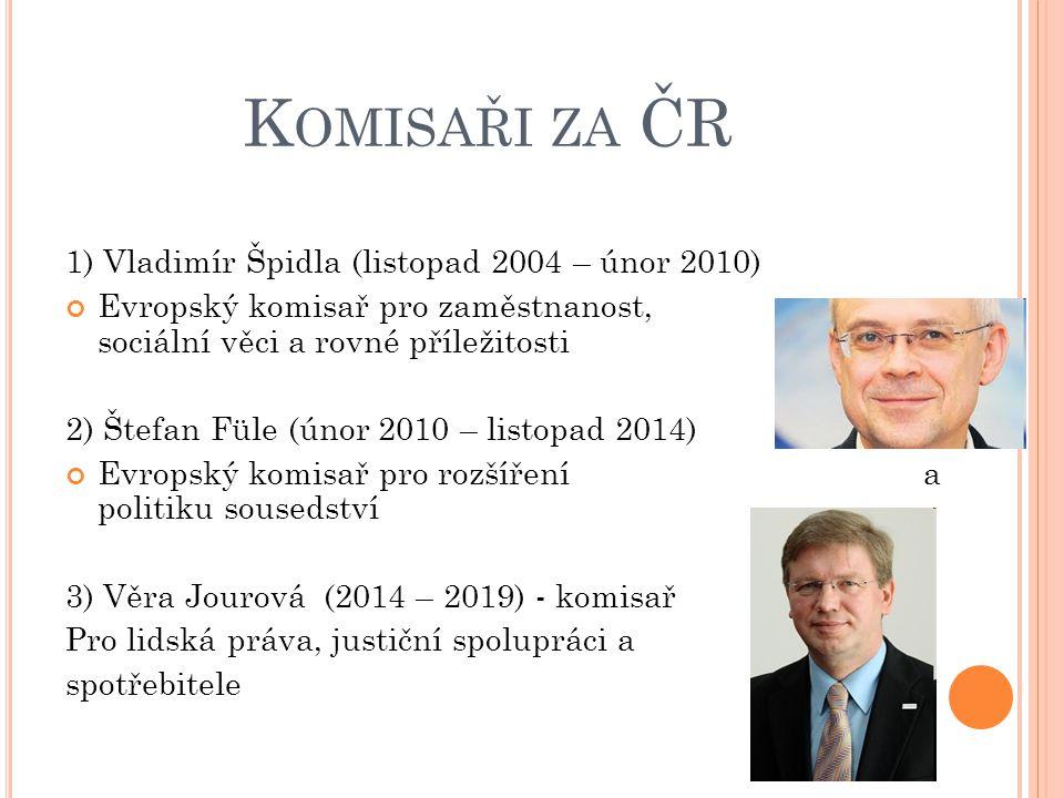 Komisaři za ČR 1) Vladimír Špidla (listopad 2004 – únor 2010)