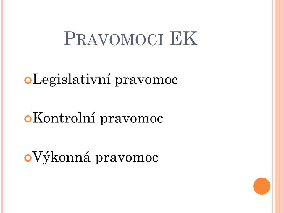 Pravomoci EK Legislativní pravomoc Kontrolní pravomoc Výkonná pravomoc