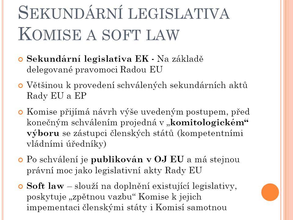 Sekundární legislativa Komise a soft law