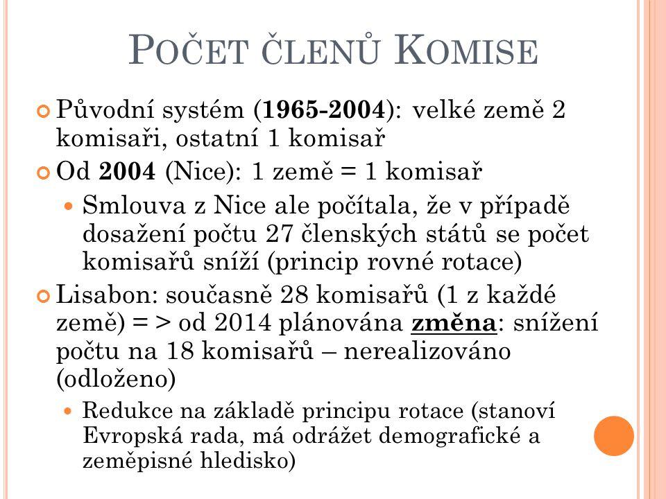 Počet členů Komise Původní systém (1965-2004): velké země 2 komisaři, ostatní 1 komisař. Od 2004 (Nice): 1 země = 1 komisař.