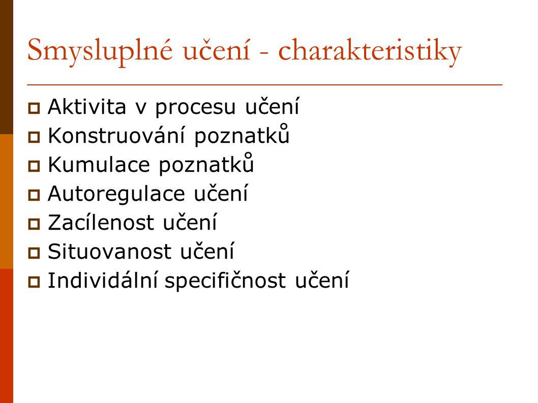Smysluplné učení - charakteristiky