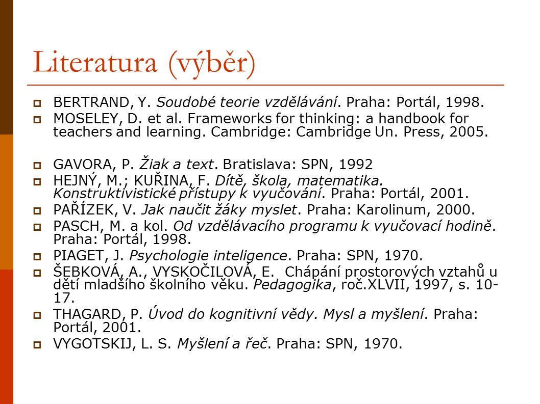 Literatura (výběr) BERTRAND, Y. Soudobé teorie vzdělávání. Praha: Portál, 1998.