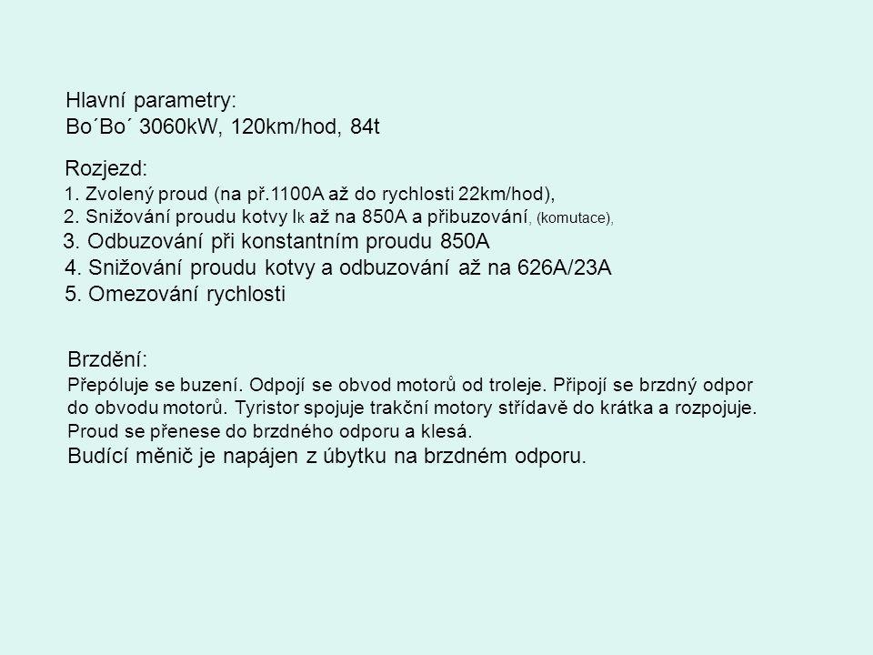 4. Snižování proudu kotvy a odbuzování až na 626A/23A