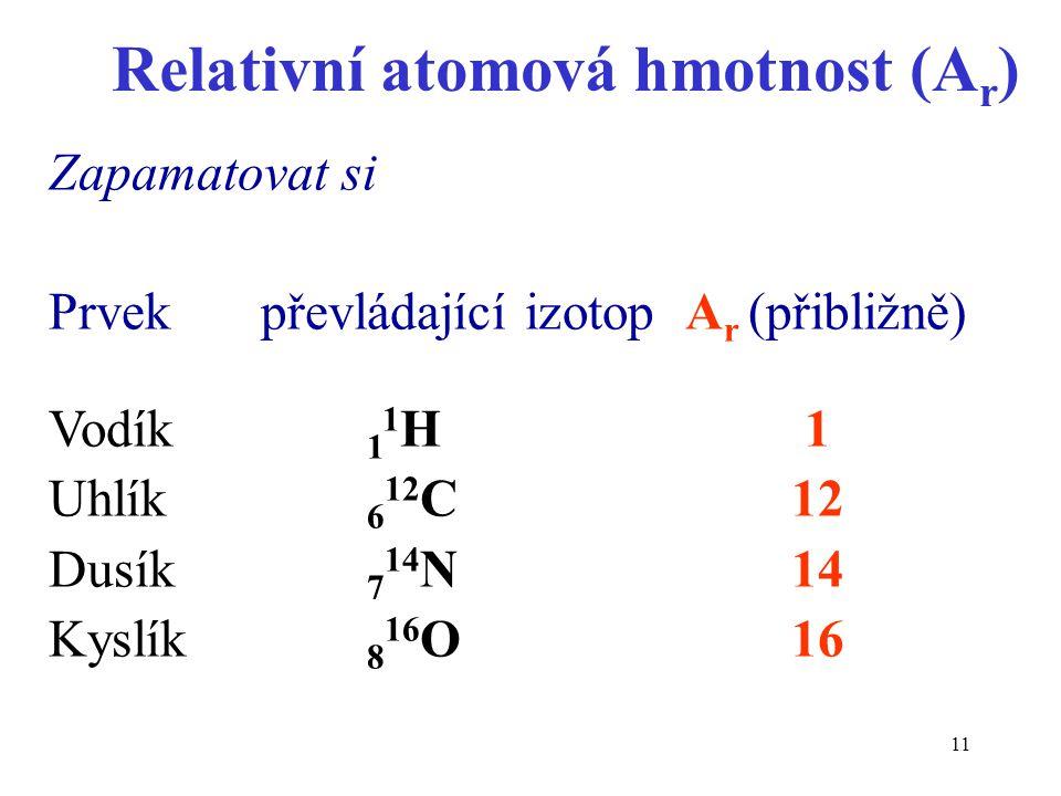 Relativní atomová hmotnost (Ar)