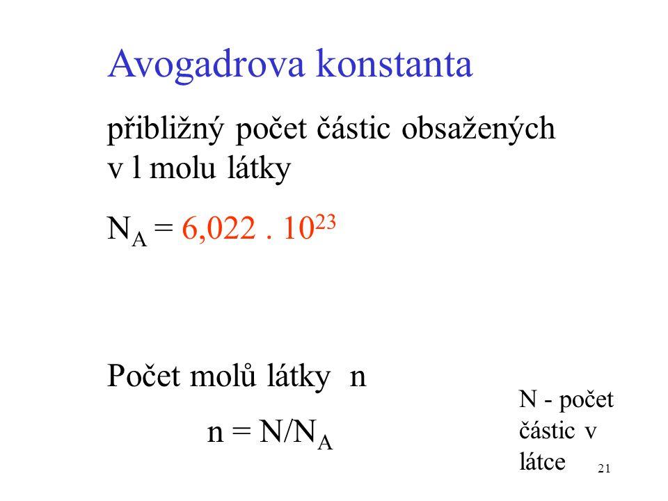 Avogadrova konstanta přibližný počet částic obsažených v l molu látky