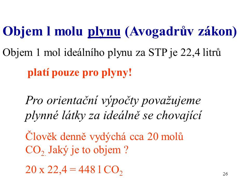 Objem l molu plynu (Avogadrův zákon)