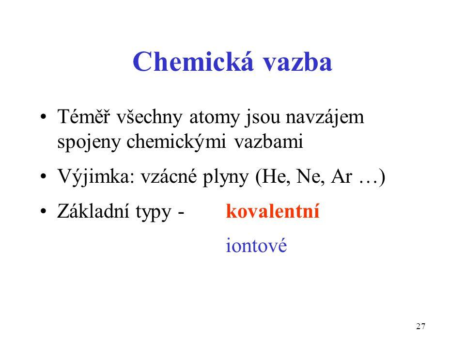Chemická vazba Téměř všechny atomy jsou navzájem spojeny chemickými vazbami. Výjimka: vzácné plyny (He, Ne, Ar …)