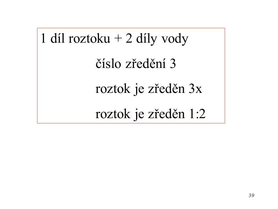 1 díl roztoku + 2 díly vody číslo zředění 3 roztok je zředěn 3x roztok je zředěn 1:2