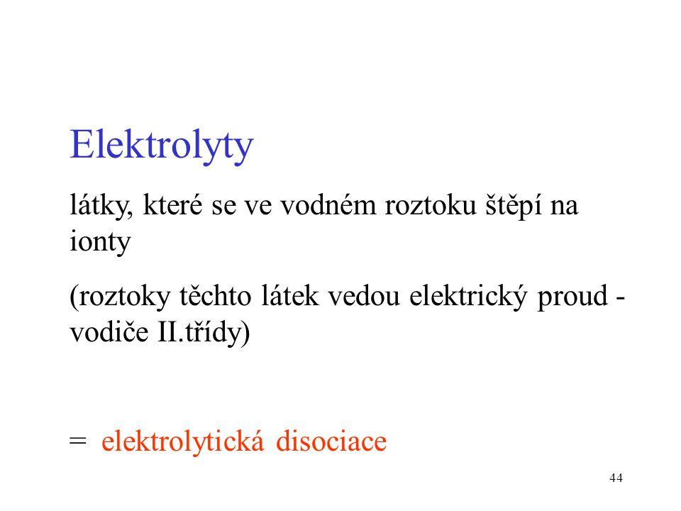 Elektrolyty látky, které se ve vodném roztoku štěpí na ionty