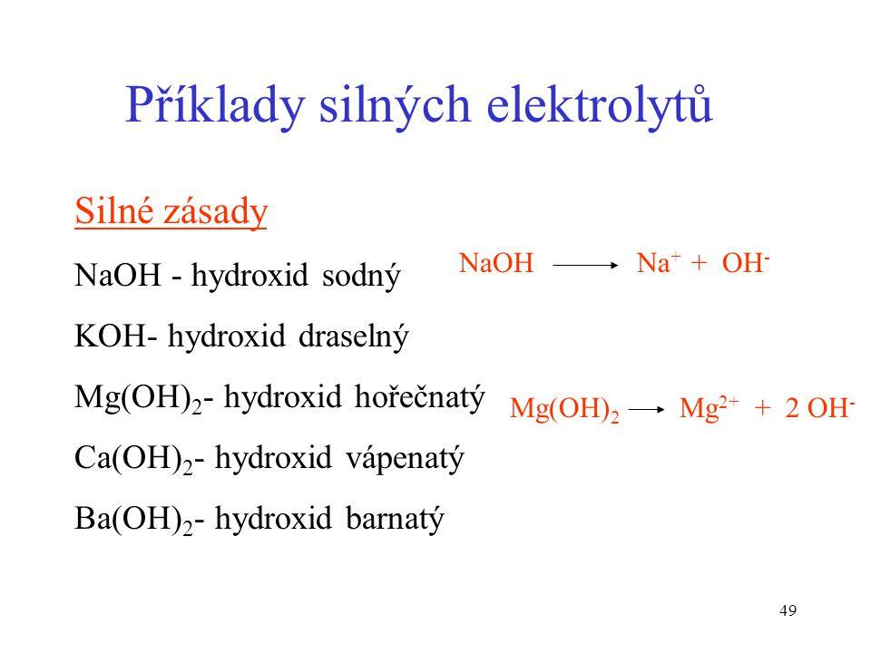 Příklady silných elektrolytů