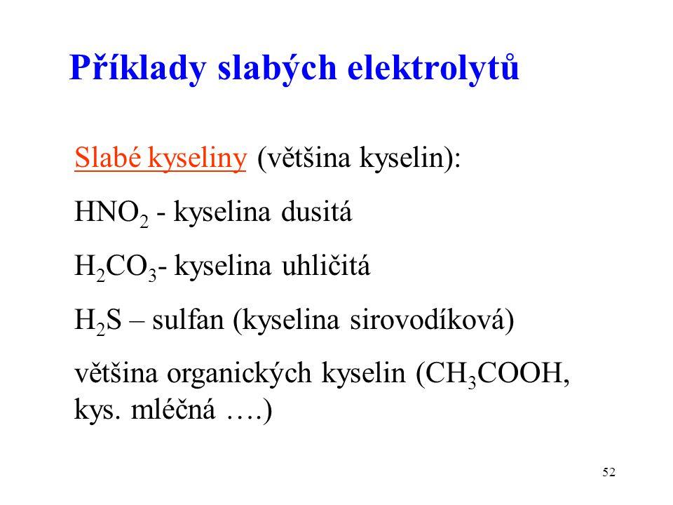 Příklady slabých elektrolytů