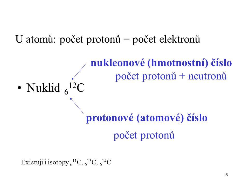 Nuklid 612C U atomů: počet protonů = počet elektronů