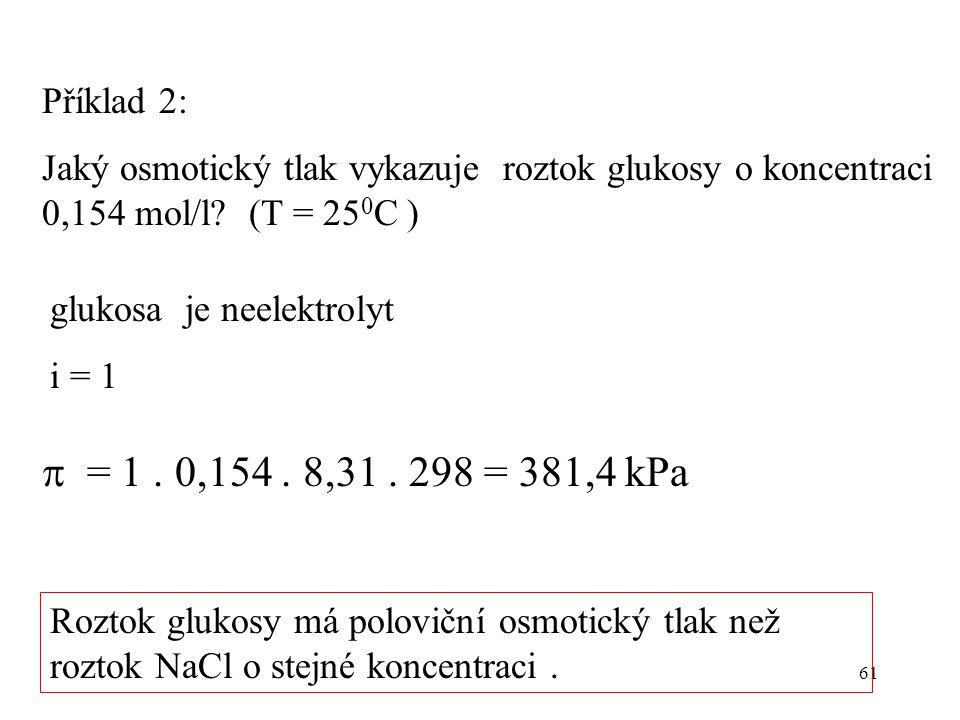 Příklad 2: Jaký osmotický tlak vykazuje roztok glukosy o koncentraci 0,154 mol/l (T = 250C ) glukosa je neelektrolyt.