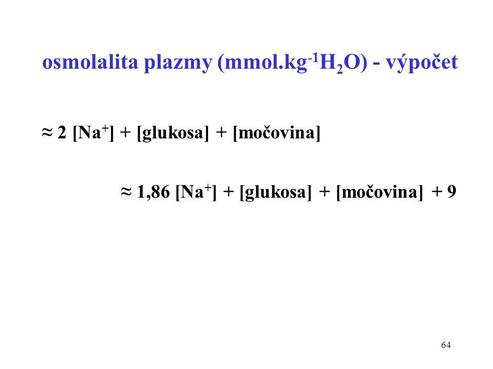 osmolalita plazmy (mmol.kg-1H2O) - výpočet