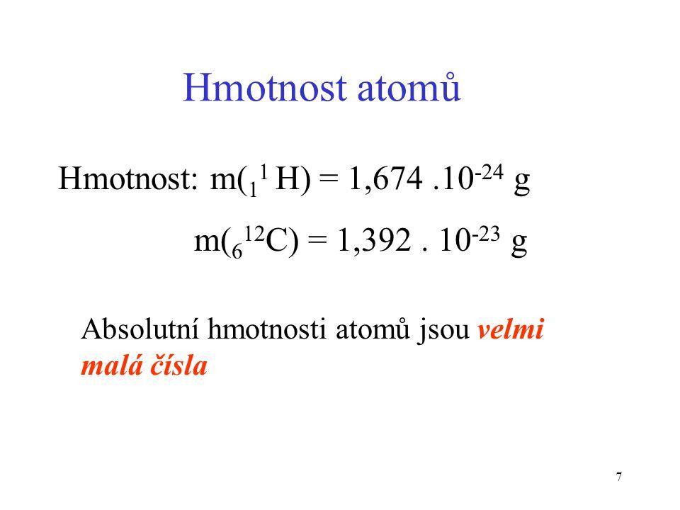 Hmotnost atomů Hmotnost: m(11 H) = 1,674 .10-24 g