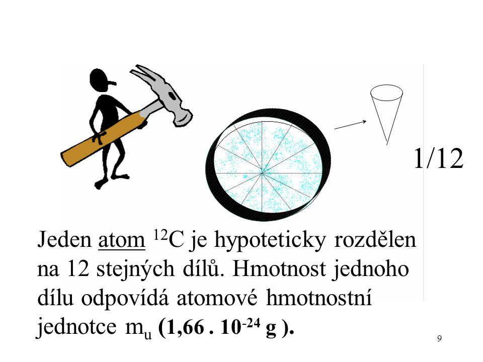 1/12 Jeden atom 12C je hypoteticky rozdělen na 12 stejných dílů.