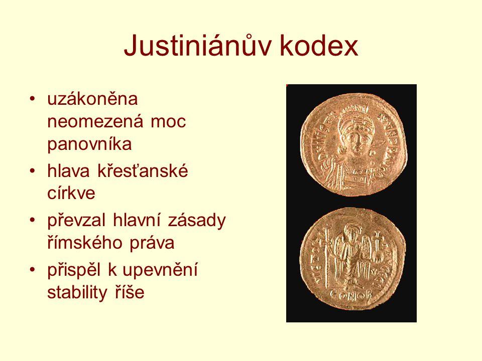 Justiniánův kodex uzákoněna neomezená moc panovníka