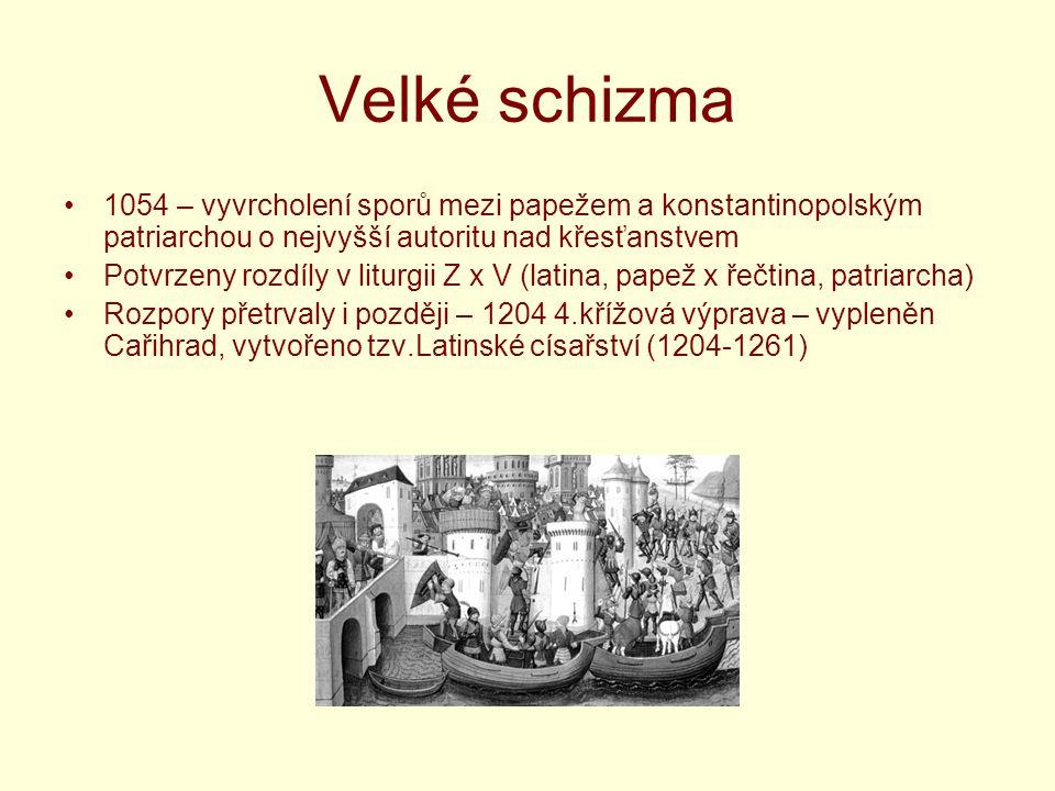 Velké schizma 1054 – vyvrcholení sporů mezi papežem a konstantinopolským patriarchou o nejvyšší autoritu nad křesťanstvem.