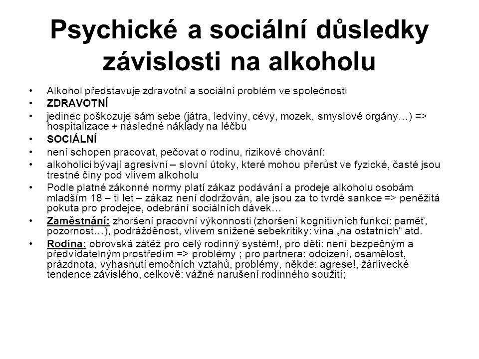 Psychické a sociální důsledky závislosti na alkoholu